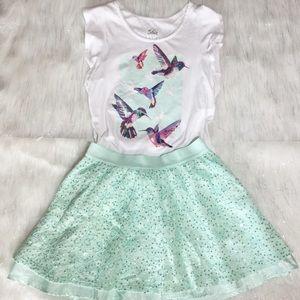 Justice for girls ruffle sleeve shirt & skirt sz12